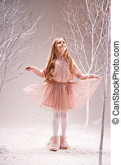 Girl in fairy forest - Cute little girl in pink dress...