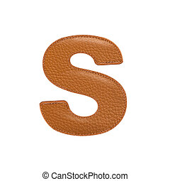 Letter S made of leather - Letter S made of stitched leather...