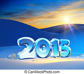 new year 2015, 3d render