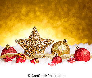 Golden christmas fir star decoration with gold and red...