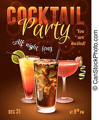 Cocktail party poster with alcohol drinks in glasses on dark...