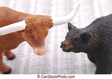 Bull and bear - Miniature bull and bear on out of focus...