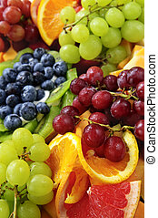 Fruit tray - Platter of assorted fresh fruit and cheese