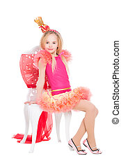 Little girl wearing candy costume