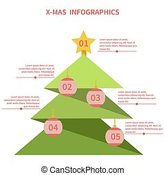 Infographics as a Christmas tree with toys