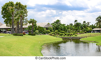 Lakeside View of an thailand Landscape Garden
