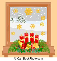 winter window and Advent wreath - Christmas decoration...