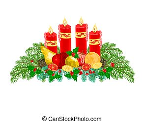 Christmas decoration Advent wreath with fruit and red...