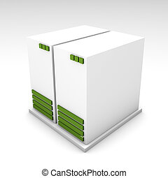 Green 3d Computer Server - Green 3d computer server over a...