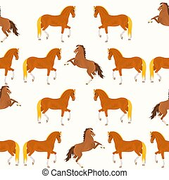 Seamless texture red horse and bay horse vector illustration