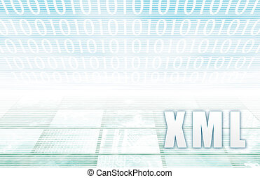 XML on a Clear Blue Tech Background