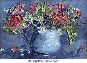 Flowers in a vase - Colorful flowers in a vase painted in...