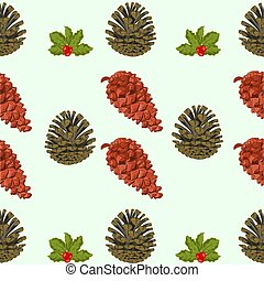Seamless texture of pine cones and berries christmas theme...