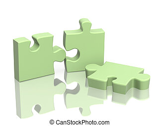 Three parts of a puzzle Object over white