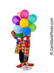 Um, Palhaço, segurando, ballons