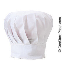 Chefs Hat on WHite - A professional chefs hat or toque on a...