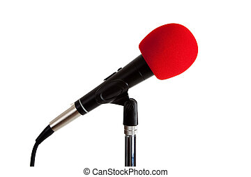 Microphone with Red Windscreen - A microphone with red foam...