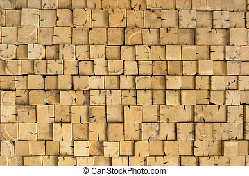 Wooden beams - Detail shot of many, smaller, stacked, square...