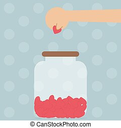 Hand putting heart into bottle, Love concept, VECTOR, EPS10