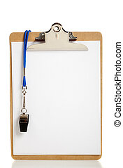 Blank Clipboard and Coaches whistle - A blank clipboard and...