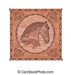 Horse and oak leaves and acorns woodcarving hunting theme...