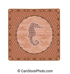 Seahorse fish woodcut button vintage vector illustration