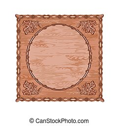 Decorative frame oak leaves and acorns woodcarving hunting...