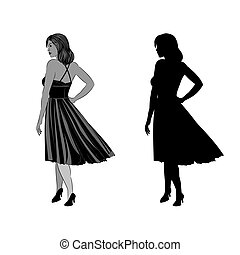 Silhouette of a girl with ball gown