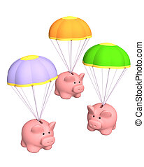 Piggy banks, flying on parachutes. Objects over white