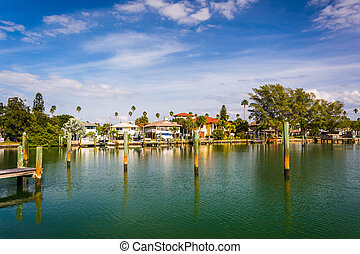 Docks and houses along Little McPherson Bayou in St Pete...