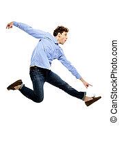 ENGRAÇADO, homem, voando, sobre, branca, fundo,