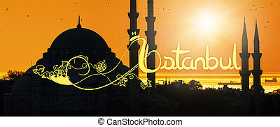 Mosque silhouette with Istanbul written in oriental style,...