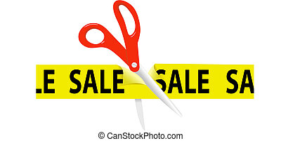 Scissors cut yellow SALE ribbon tape