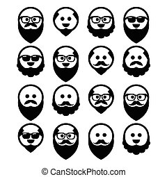 Bald man with beard icons