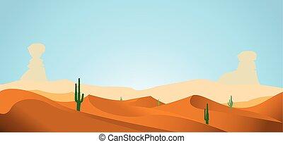 desert with dunes cactus and mounta