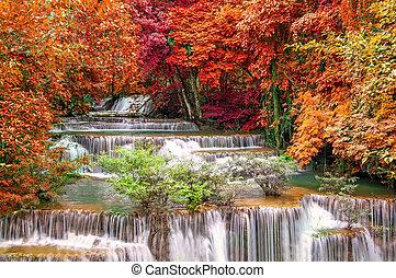 Waterfall in deep rain forest jungle (Huay Mae Kamin...