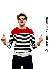Fashion man in sunglasses with thumbs up over white background