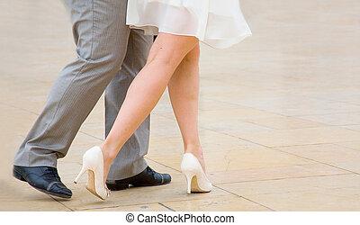 bailando, tango, calle, bailarines, amaestrado, tango, baile