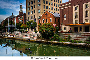 Buildings along the Providence River in Providence, Rhode...