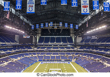 Lucas Oil Stadium in downtown of Indianapolis, Indiana -...