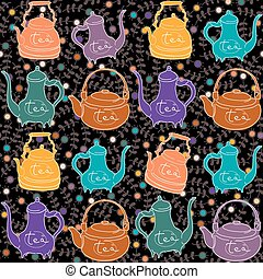 Background with colored teapots .Funny pattern
