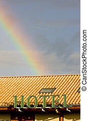 detail of a hotel with rainbow