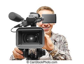 vídeo, cámara, operador,