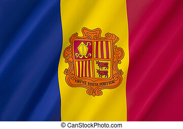 Flag of Andorra - The national flag of the Principality of...