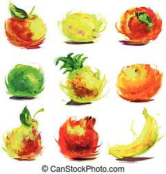 set of drawing fruit