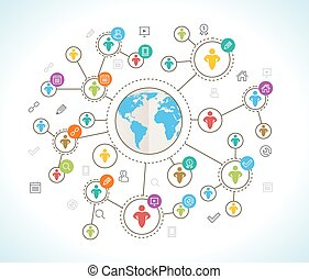 Isometric 3d Social Media Network Vector Illustration with...