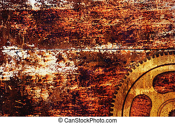 Rusty metal background - Gear on rusty metal background