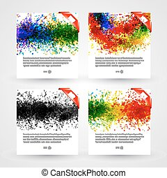 Set of bright paint splashes vector watercolor background....