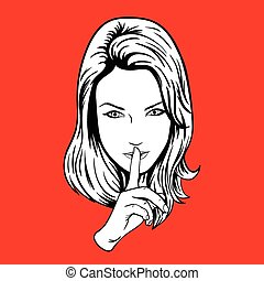 Quieter Girl - Girl making the sign of silence. woman with...