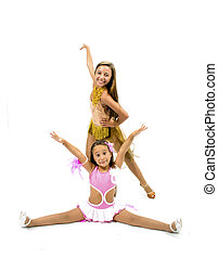 Beautiful dancers with colorful dress posing for dancing